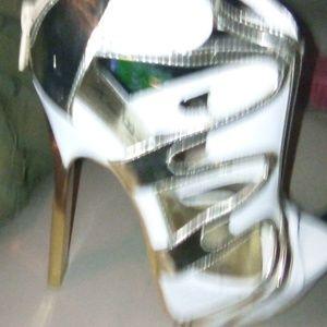 Alba Shoes - 6&1/2 ALBA White & Gold Heels